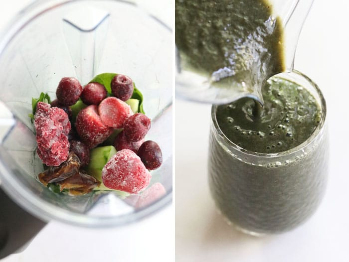 spirulina smoothie ingreidents in blender