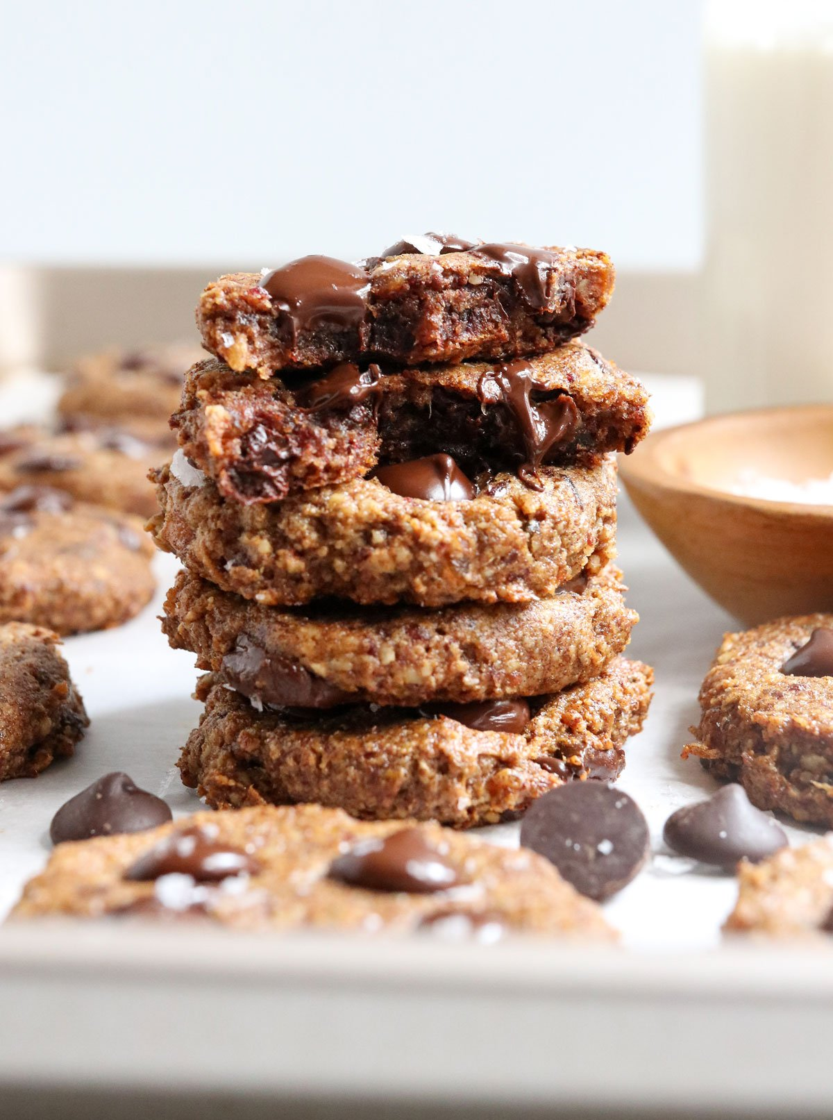 healthy cookies stacked on pan
