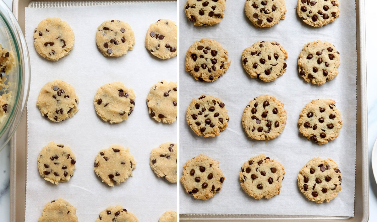 unbaked and baked almond flour cookies on pan