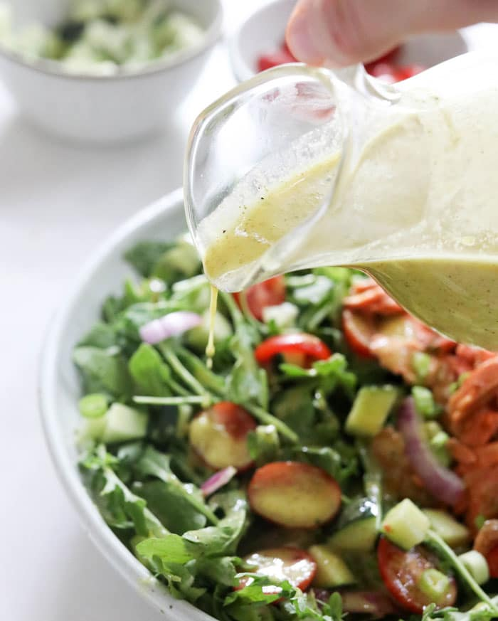 champagne vinaigrette over salad