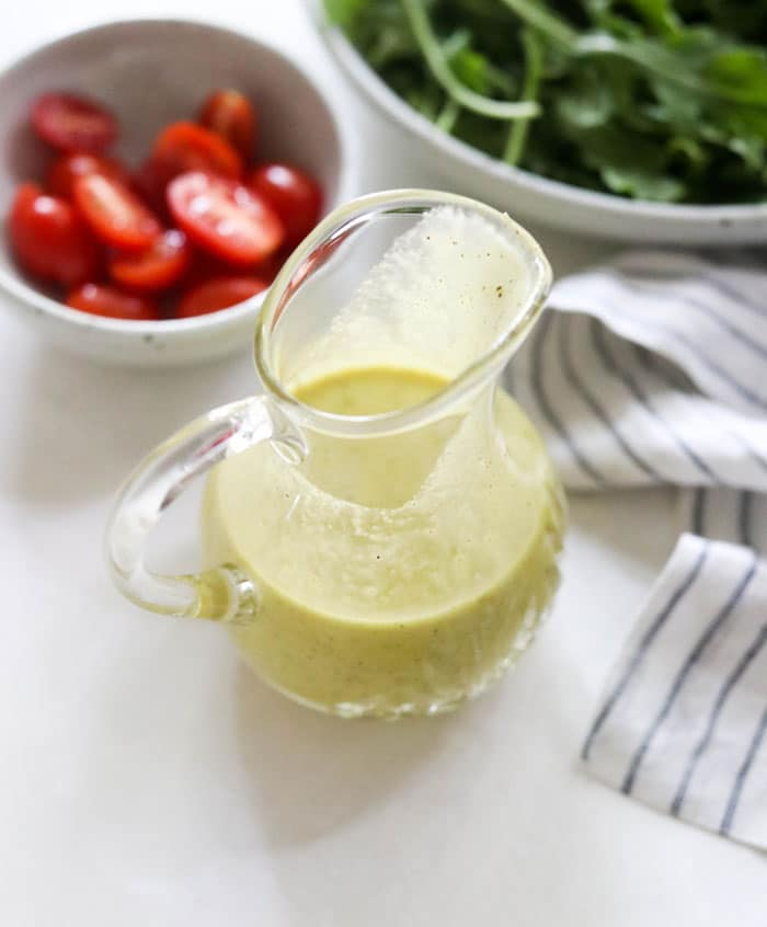 champagne dressing in glass container