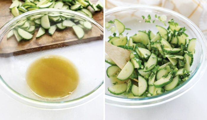 cucumber salad dressing and tossed together