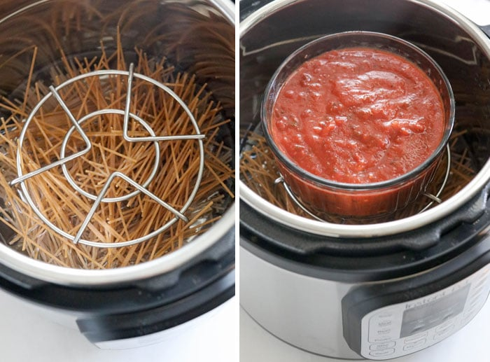 pot in pot spaghetti noodles and sauce in instant pot