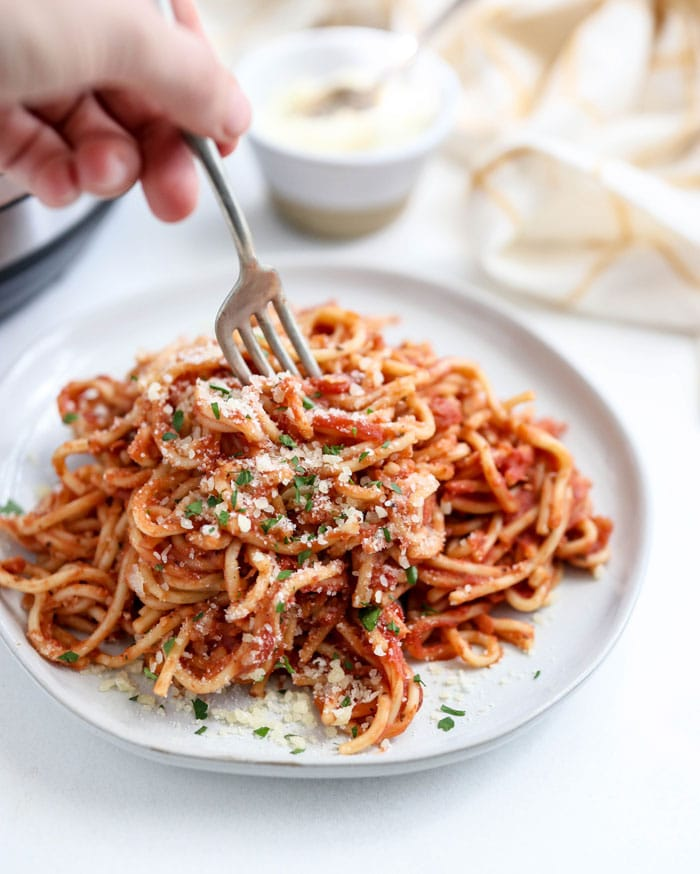instant pot spaghetti on a plate with fork