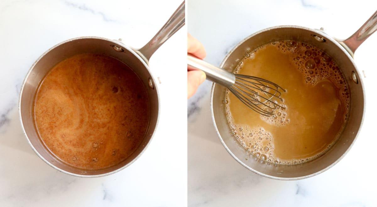 pumpkin spice latte ingredients in saucepan