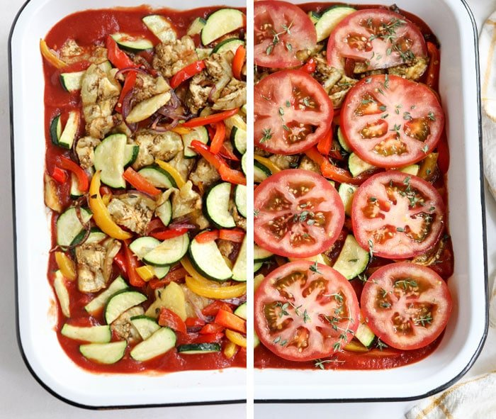 ratatouille layers in casserole dish