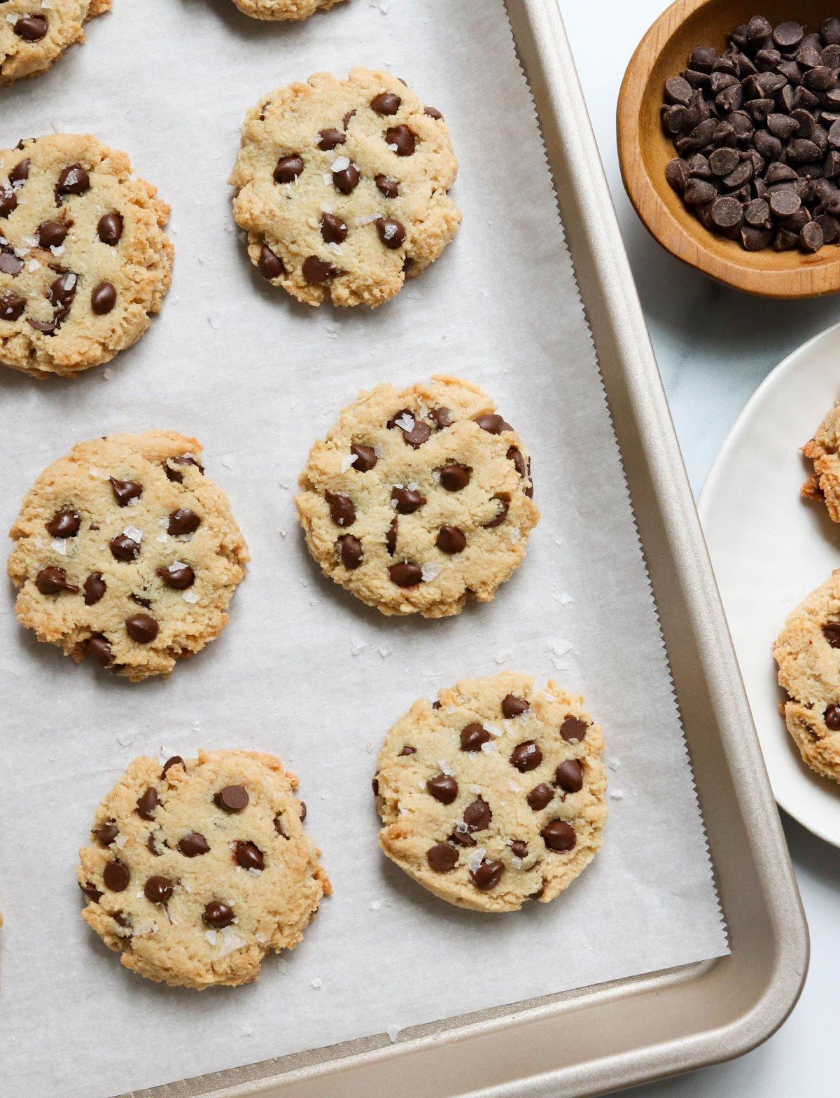 vegan almond flour cookies baked on pan