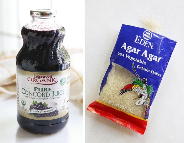 juice and agar agar to make vegan jello