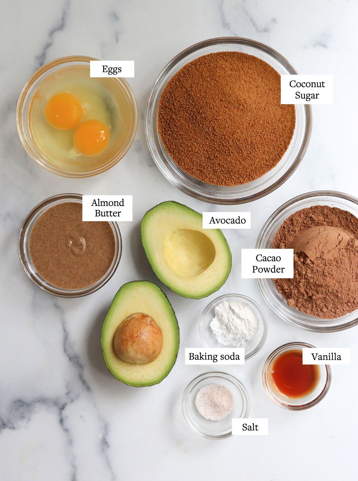 avocado brownie ingredients on marble surface