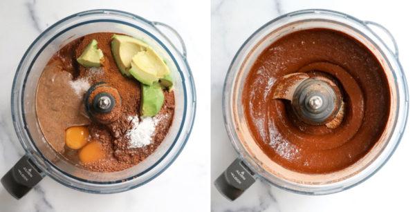avocado brownie ingredients blended in food processor