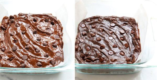 avocado brownie batter in baking dish
