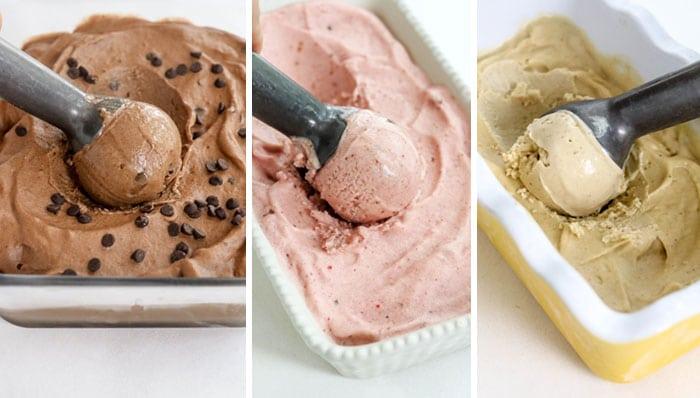 chocolate strawberry and peanut butter banana ice cream