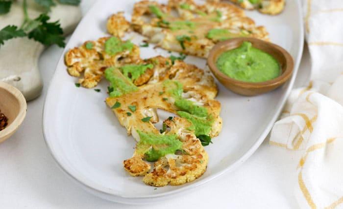 chimichurri sauce on cauliflower steak