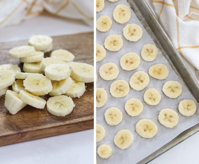 bananas sliced and on a pan to freeze