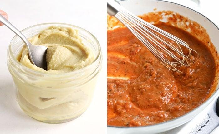 creamy vegan pasta sauce with hummus