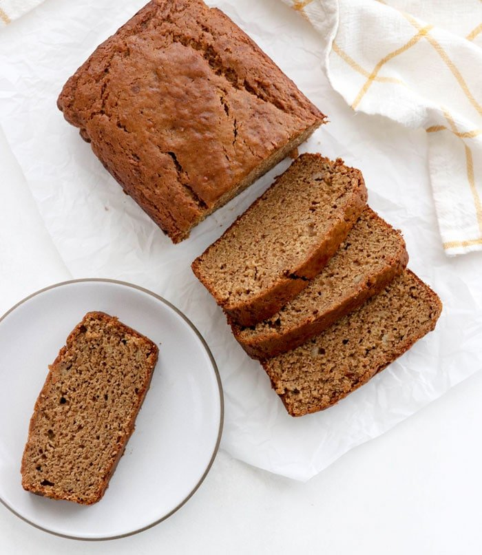 vegan banana bread sliced overhead
