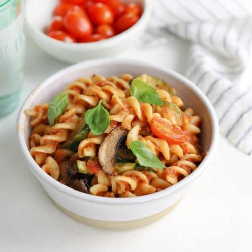 easy vegan pasta in white bowl