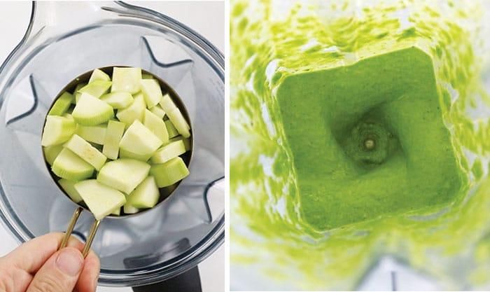 zucchini in the blender to make chimichurri