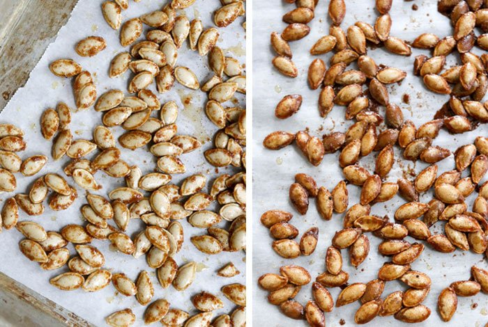 before and after roasted squash seeds