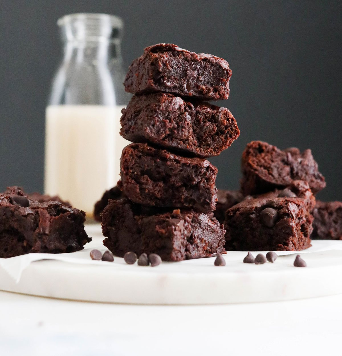sweet potato brownies stacked on board