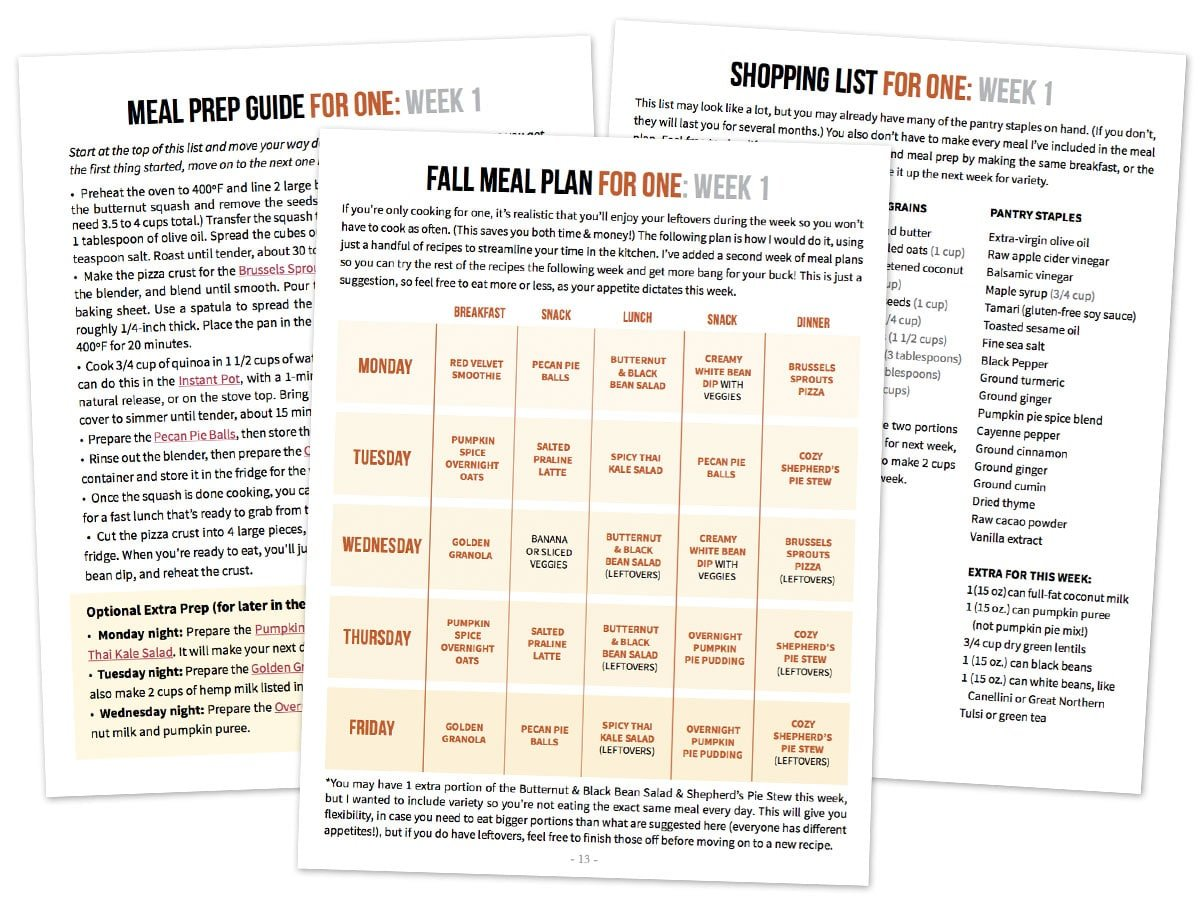 sample meal plan pages