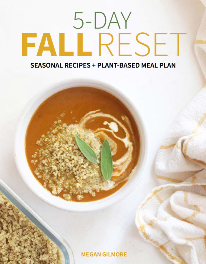 fall reset cover with bowl of pumpkin soup