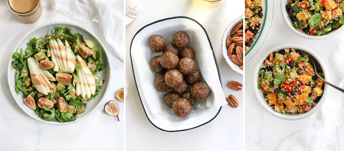 pear salad and butternut squash salad with date balls