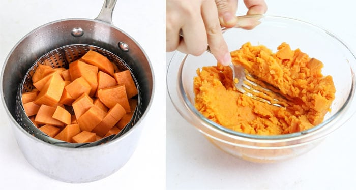 steamed and mashed sweet potato