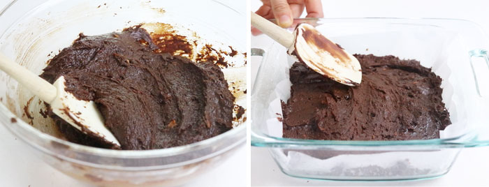 sweet potato brownie batter spread in pan