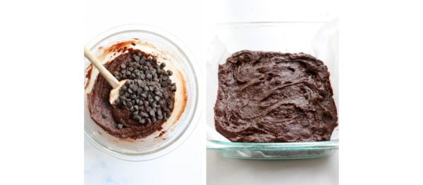 brownie batter added to pan