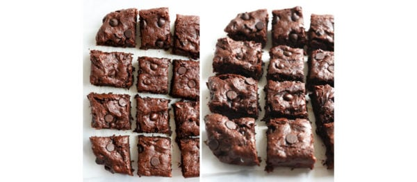 sliced brownies on white surface
