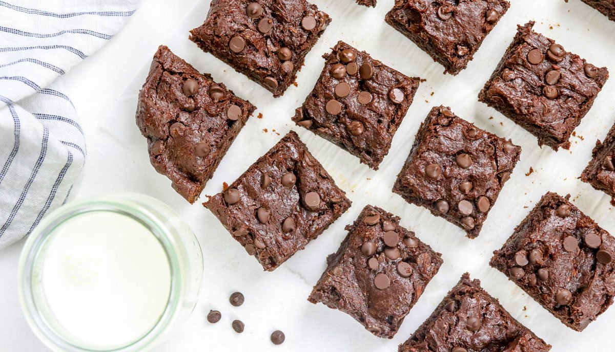 sweet potato brownies cut into squares overhead