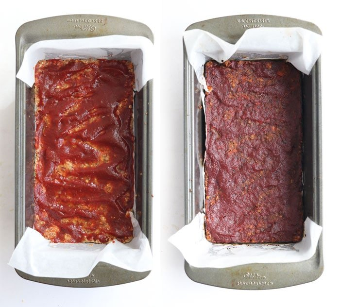 lentil loaf before and after baking