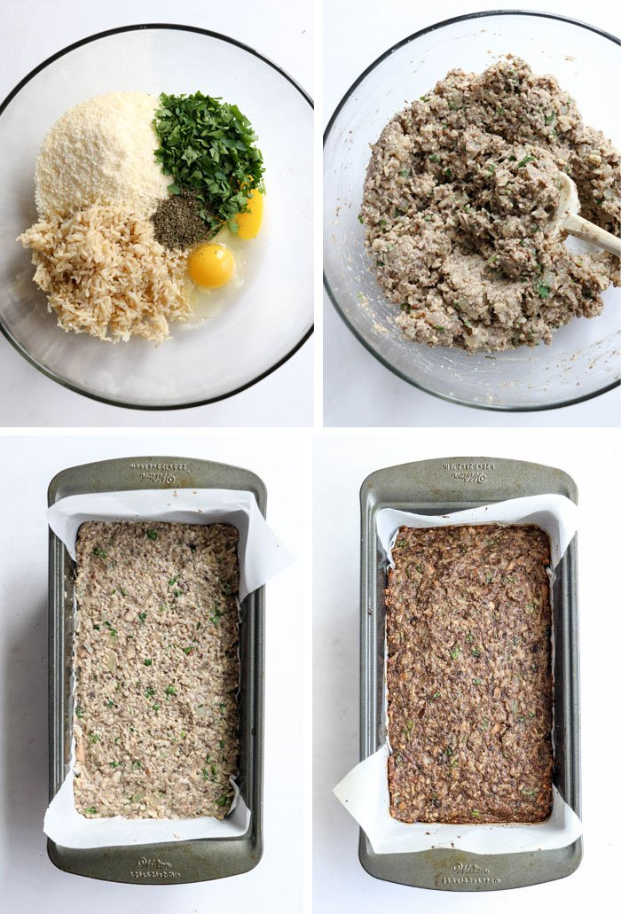 nut roast ingredients in a bowl and in loaf pan
