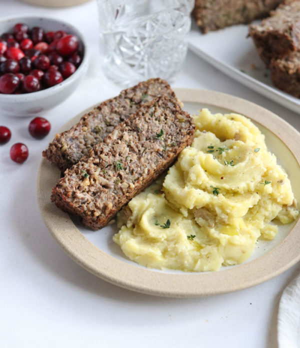 nut roast slices with mashed potatoes