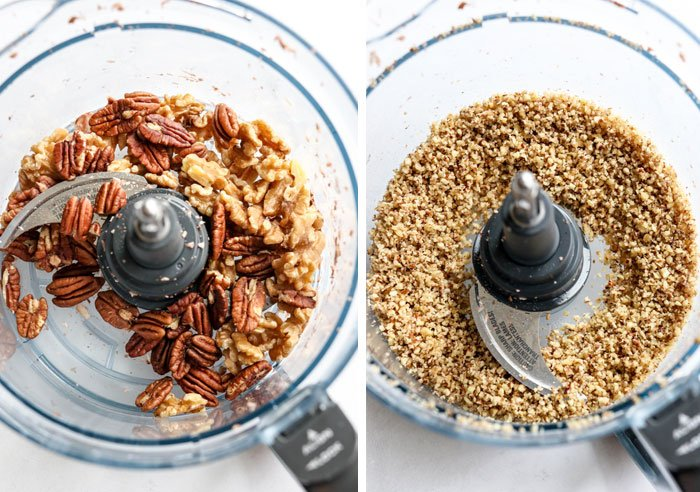 walnuts and pecans in food processor