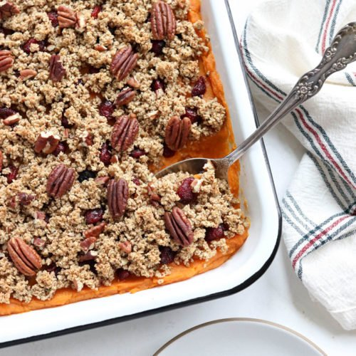 sweet potato casserole with pecans on top