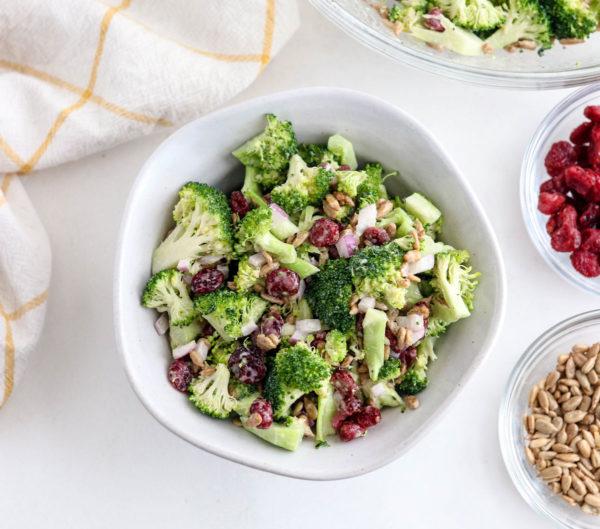 broccoli salad in a white bowl overhead