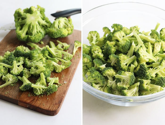 how to cut broccoli for salad