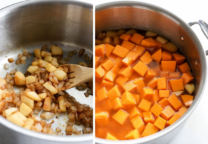 apples, onions, and squash in a soup pot