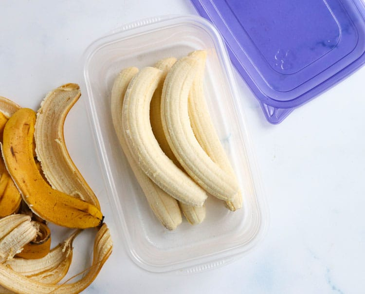 frozen whole bananas in container