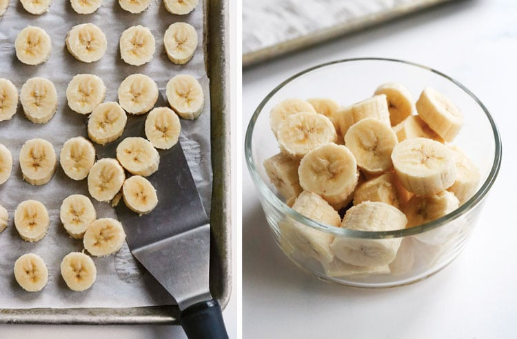 frozen banana slices on pan and in container