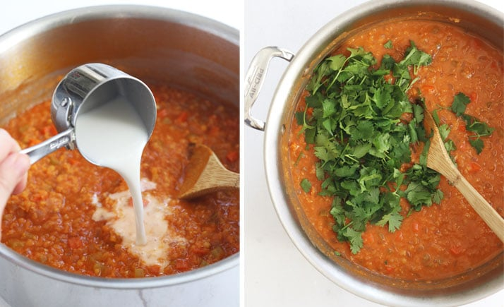 red lentil soup with coconut milk and cilantro added in