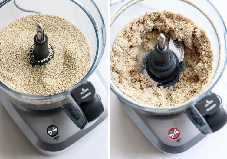sesame seeds in food proessor, blended for 5 minutes
