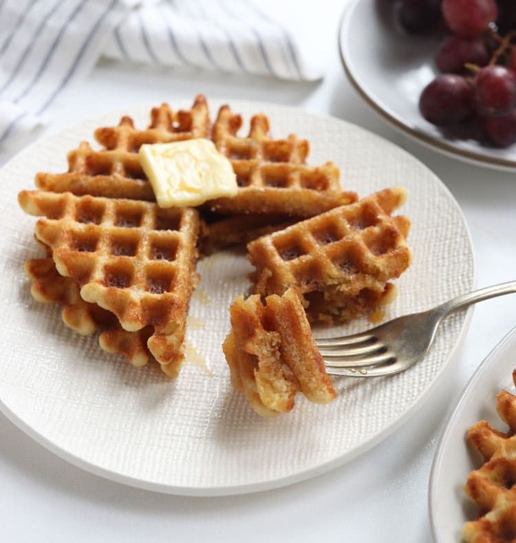 waffle with fork bite
