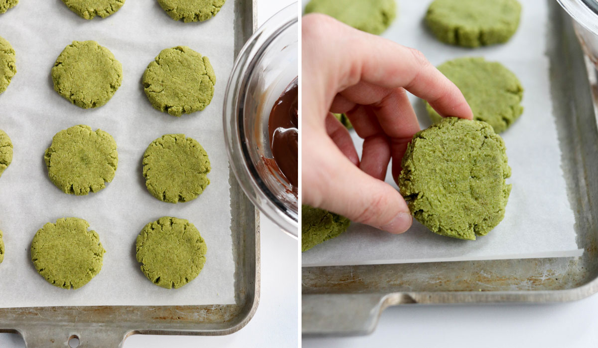 baked matcha cookies