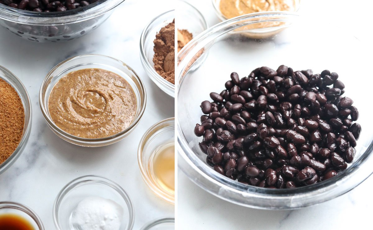 black bean brownie ingredients in glass bowls