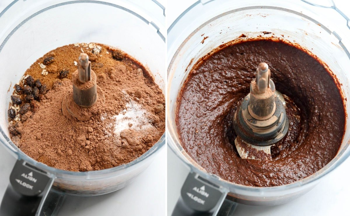 rest of brownie ingredients pureed together