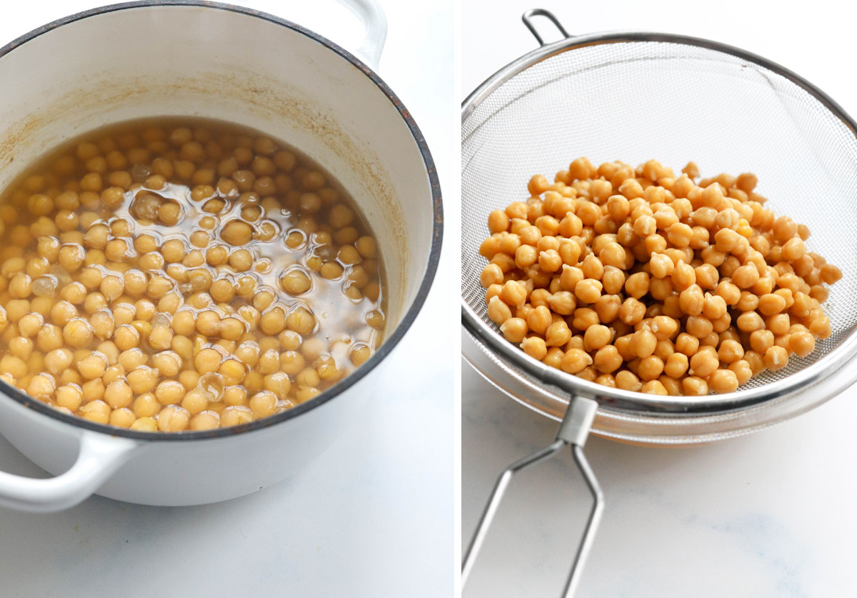 cooked chickpeas in strainer