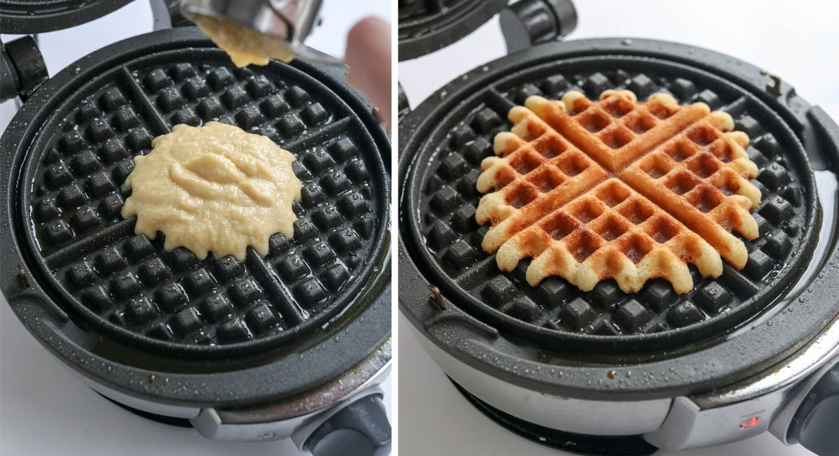 almond flour waffles in the waffle iron
